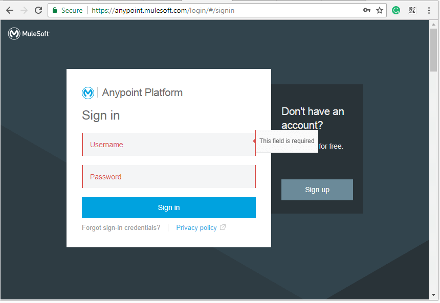 Use valid credentials for Username and Password to successfully sign in