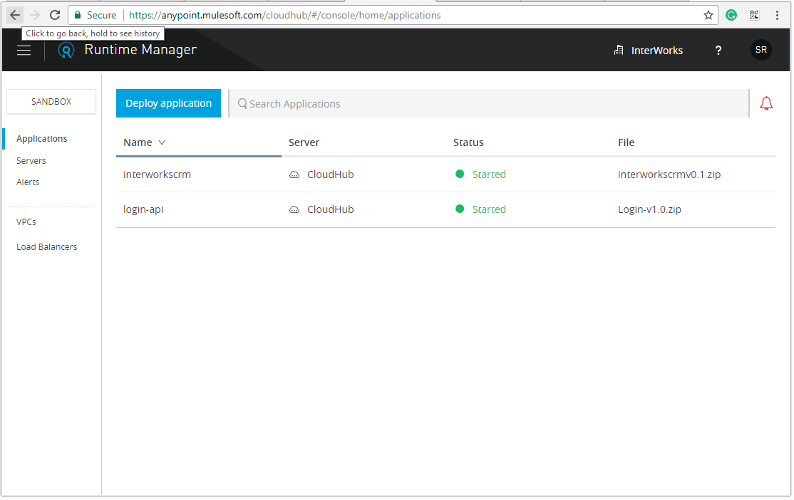 The Runtime Manager shows the already deployed applications and the Deploy button