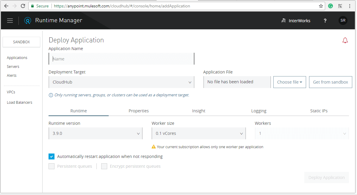 Click the Deploy application to start the procedure for deploying the application
