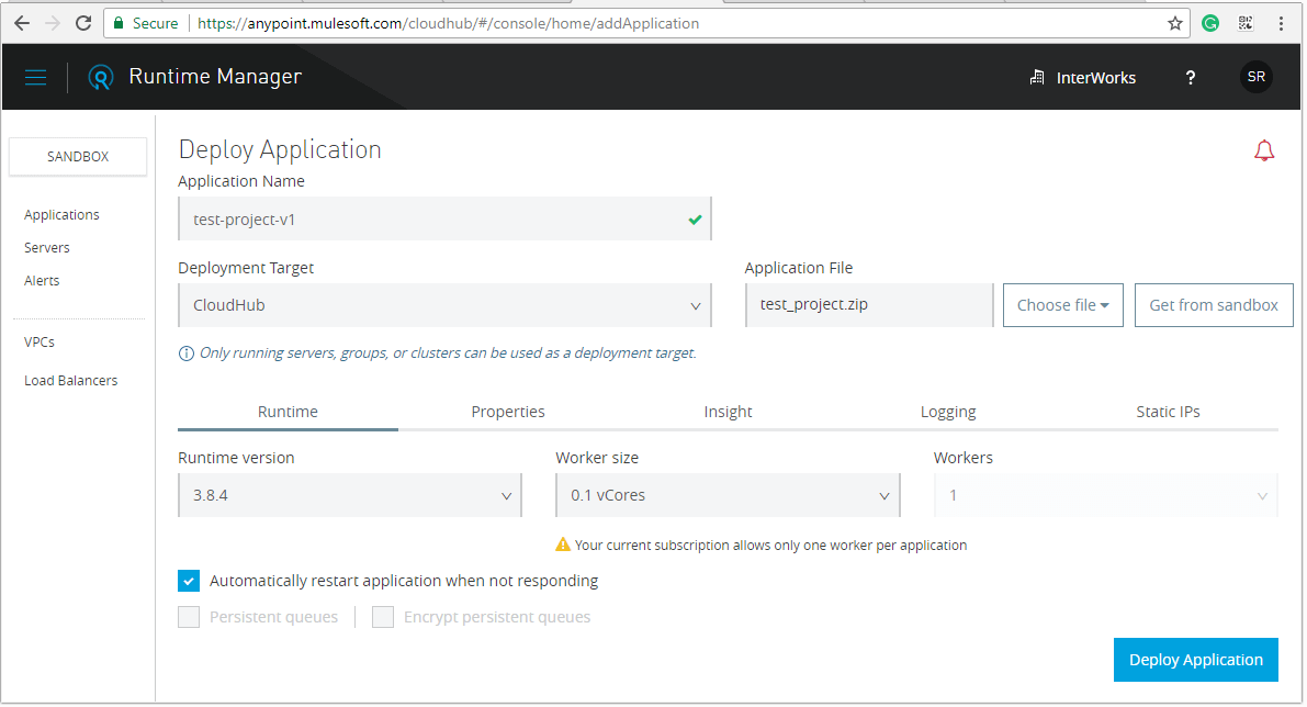 Adding application in Runtime Manager
