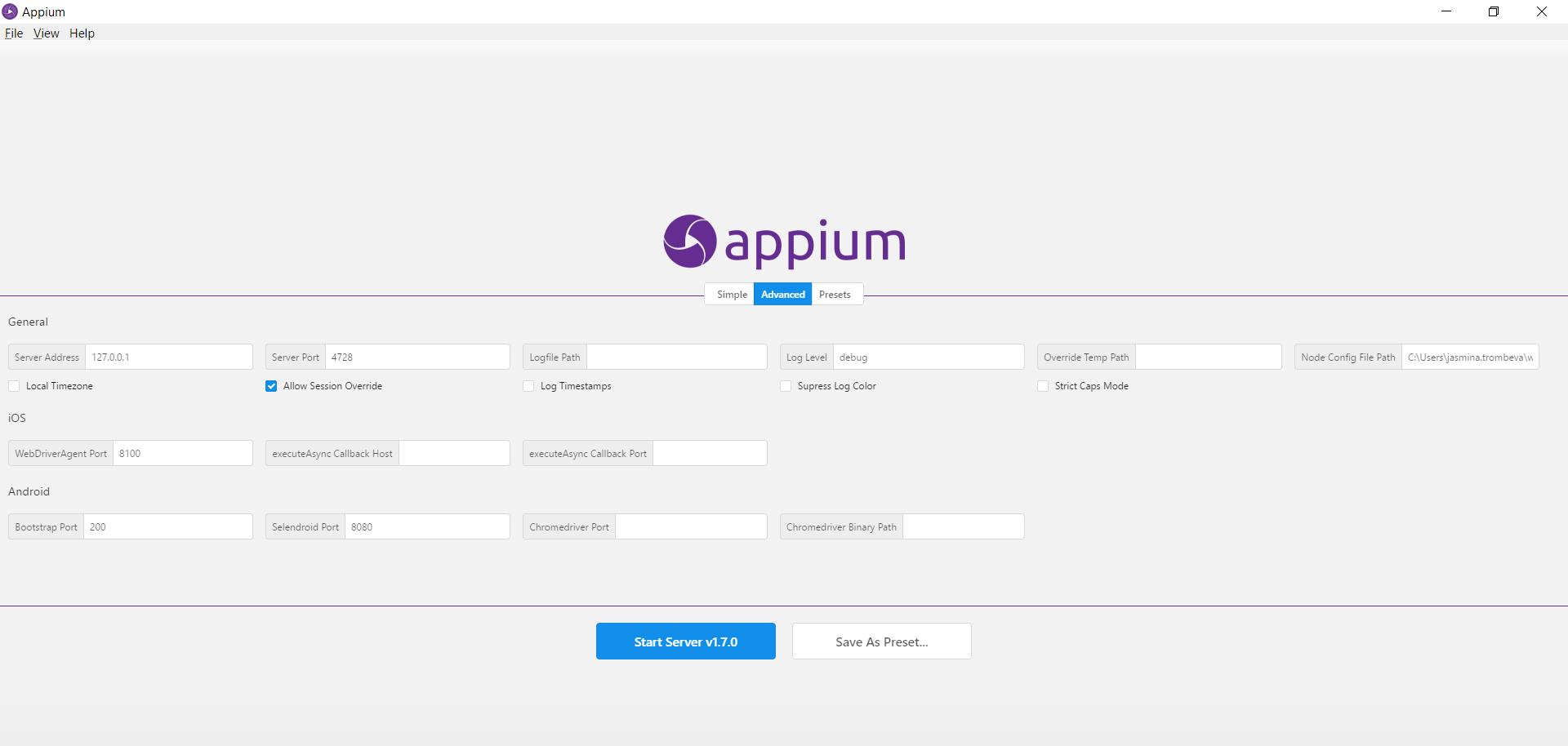 Appium Server configuration for Node1